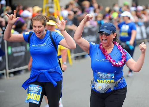 Jill Weaver and Patty Gutierrez finished the 2011 Seattle Rock and Roll half marathon