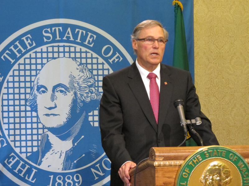 Washington state Gov. Jay Inslee answers questions about a potential leak in a tank at Hanford Nuclear Reservation, on Friday, June 21, 2013, in Olympia, Wash.