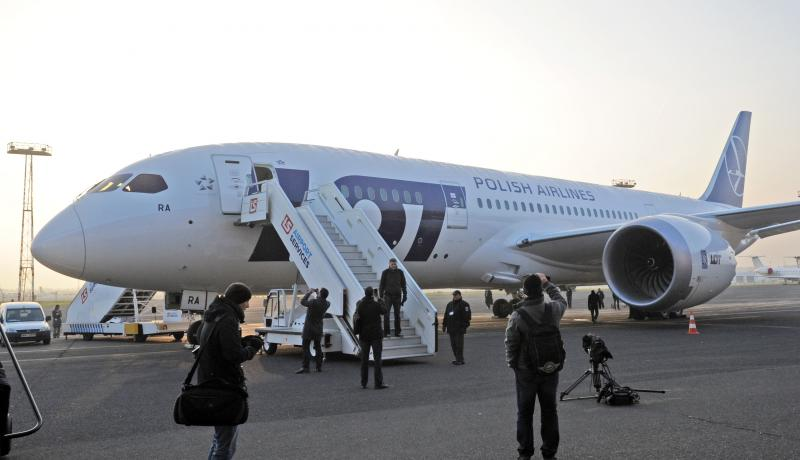FILE - In this Nov. 15, 2012 file photo Polish Airlines LOT first Boeing 787 Dreamliner stands on the Chopin airport tarmac after arrival from the producer, in Warsaw, Poland.