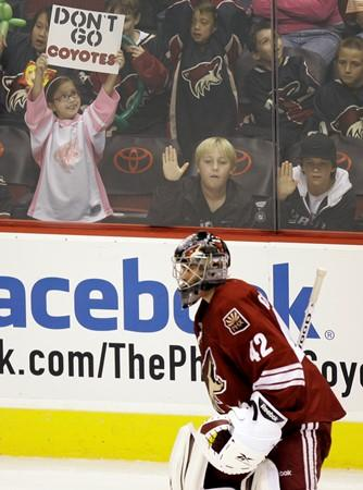 Young Coyotes fan shows her support.