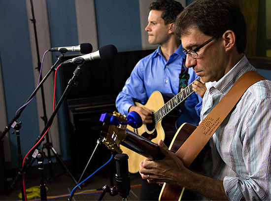 Vinny Raniolo (left) and Frank Vignola performing live in the KPLU Seattle studios on May 30, 2013