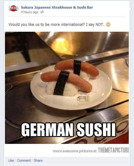 Facebook post of bratwurst sushi from Sakura Japanese Steakhouse and Sushi Bar in Burlington, WA.
