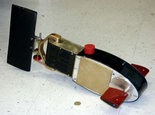 This photo shows a side view of the robotic fish.