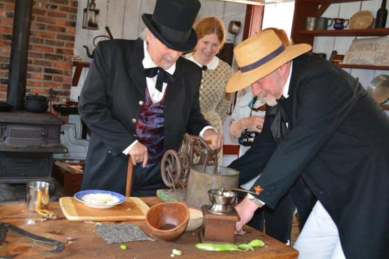 It slices, it dices, it chops up the pemmican in a flash! (L-R) Stein, re-enactor Karen Haas, curator Bill Rhind with the 1855 version of the Veg-O-Matic