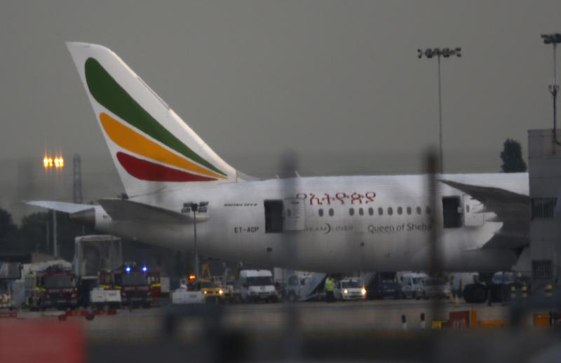 General view of the Air Ethiopian Boeing 787 Dreamliner 'Queen of Sheba' aeroplane, on the runway near Terminal 3, at Heathrow Airport, London, Friday July 12, 2013.
