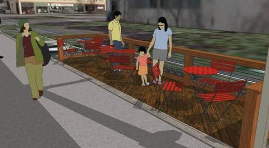 "An artist's rendering of a proposed ""parklet"" at 421 Sixth Avenue South in Seattle's Chinatown/International District."