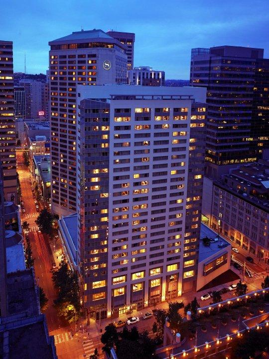 The Seattle Sheraton Hotel, one of four buildings that are part of the city's High-Performance Building Pilot Project. The aim is to use real-time data to reduce energy use by 10 to 25 percent without reducing worker productivity.
