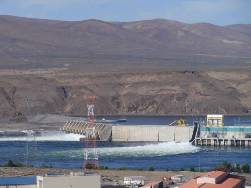 A portion of the electricity generated on the mid-Columbia, like at Wanapum Dam shown here, is shipped to Canada under the terms of the Columbia River Treaty.
