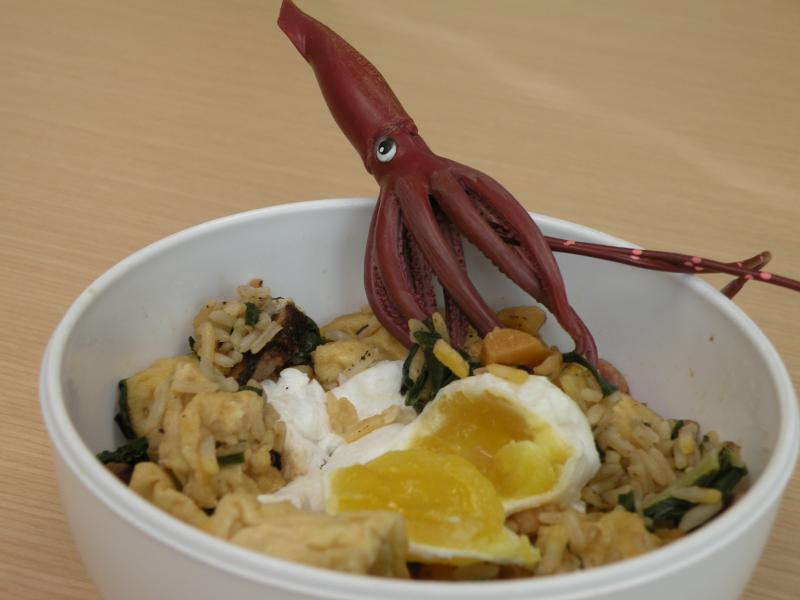 Salty duck egg with squid on fried rice.