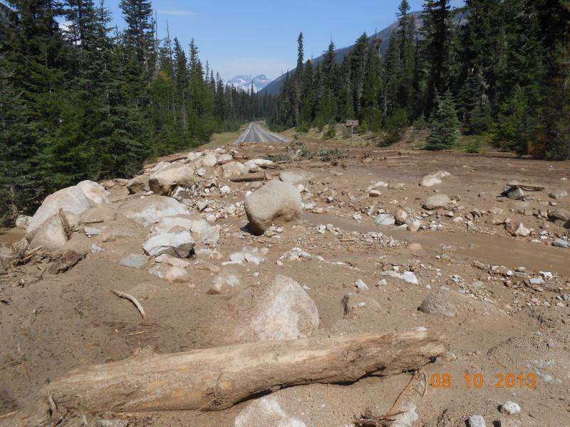 This is one of eight mudslides across SR 20, the North Cascades Highway.