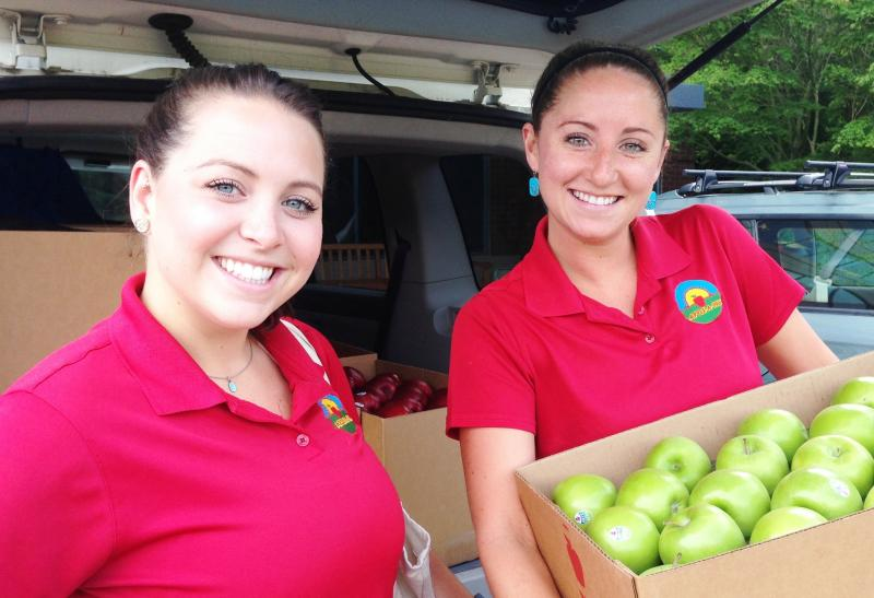 Apple-A-Day's recent college grad owners Danielle LaRiviere, left, and Lexi Schmidt.