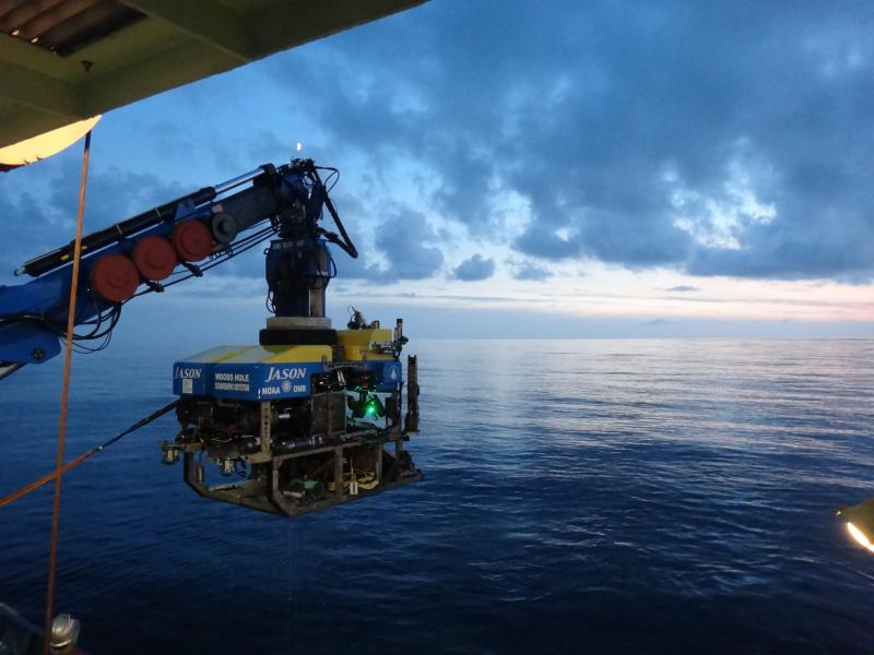 Launching the ROV Jason, the unmanned minisub which deployed heat flow sensors and probes on the seafloor.