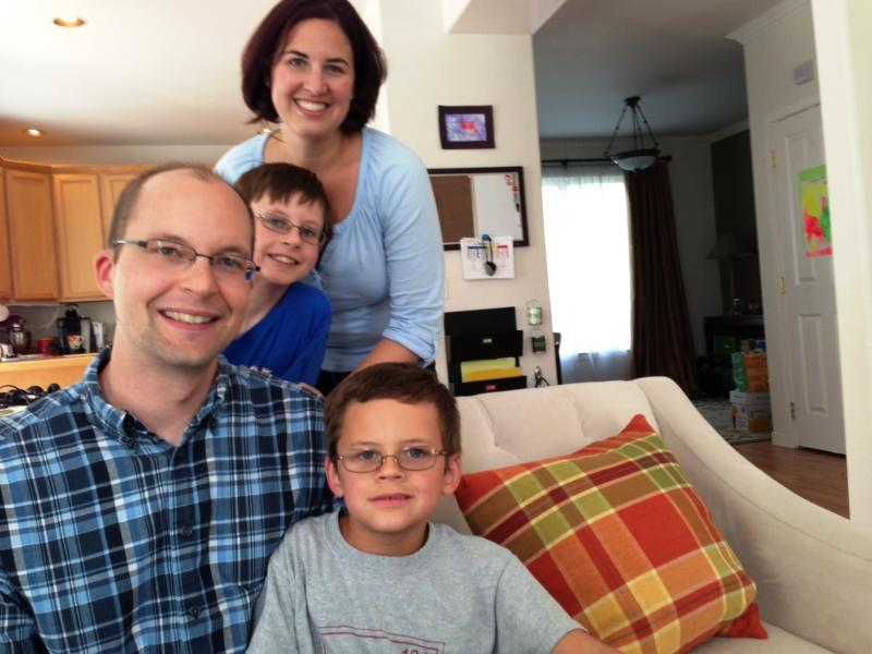 Citizen lobbyist Jeff Schwartz with his wife Cathy and sons Jacob (on couch) and Sam at their home in Kirkland, Washington.