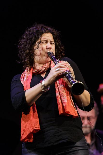 Anat Cohen at Jazz Port Townsend (Chuck Deardorf in background)