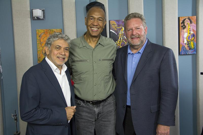 Monty Alexander, John Clayton and Jeff Hamilton in the KPLU Seattle studios on August 9, 2013.