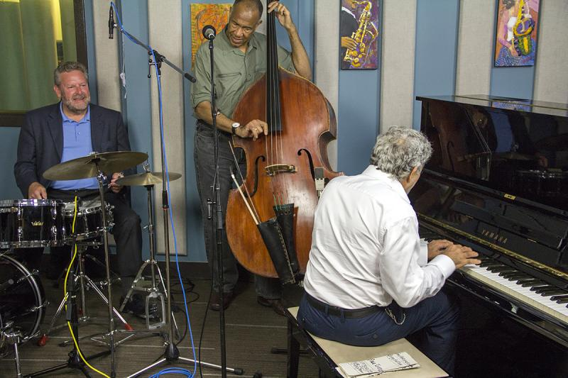 Monty Alexander, John Clayton and Jeff Hamilton performing live in the KPLU Seattle studios on August 9, 2013.