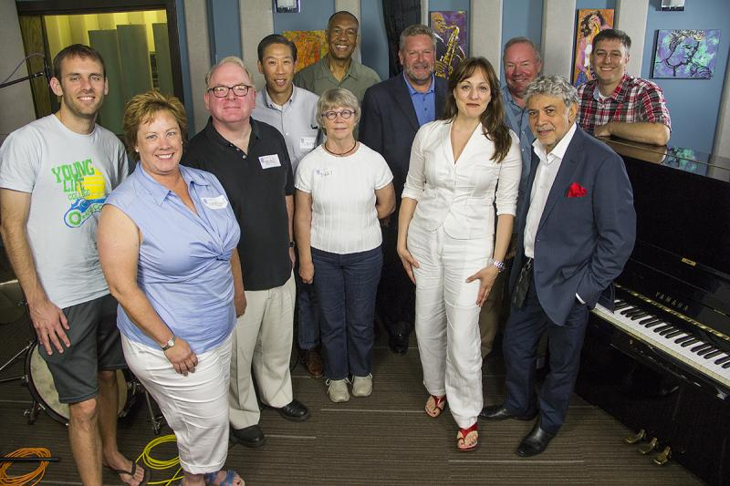 Monty Alexander, John Clayton and Jeff Hamilton with KPLU Leadership Circle members, and host Abe Beeson.