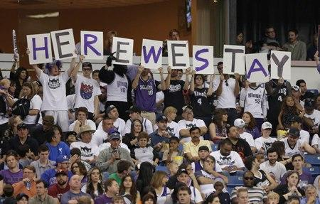 Sacramento Kings fans during the relocation battle with Chris Hansen's Seattle investment group. Can you spot the gorilla in the photo?