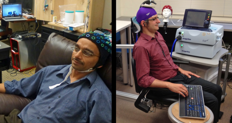 University of Washington researcher Rajesh Rao, left, plays a computer game with his mind. Across campus, researcher Andrea Stocco, right, wears a magnetic stimulation coil over the left motor cortex region of his brain.
