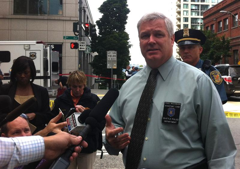 SPD Assistant Chief Paul McDonough briefs the media at the scene.