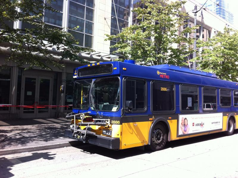 This photo shows the bus aboard which the first shooting occurred.