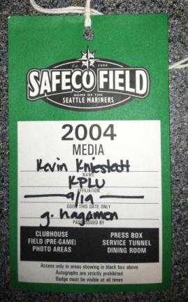 Kevin Kniestedt's press pass from Safeco Field from 2004 when he covered the retirement of Edgar Martinez.