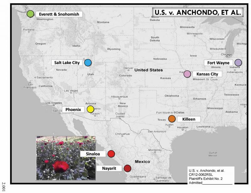A trial exhibit that shows the geographic scope of the Berrelleza-Verduzco trafficking ring.