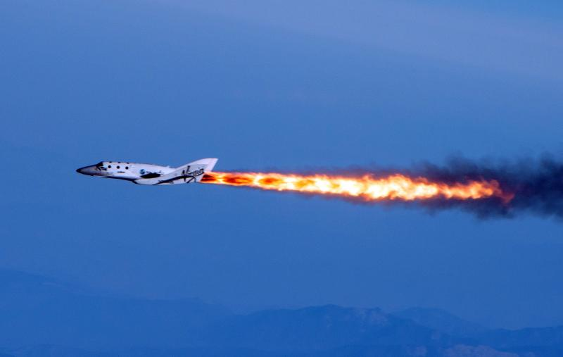 This photo provided by Virgin Galactic shows Virgin Galactic's SpaceShipTwo under rocket power, its first ever since the program began in 2005.