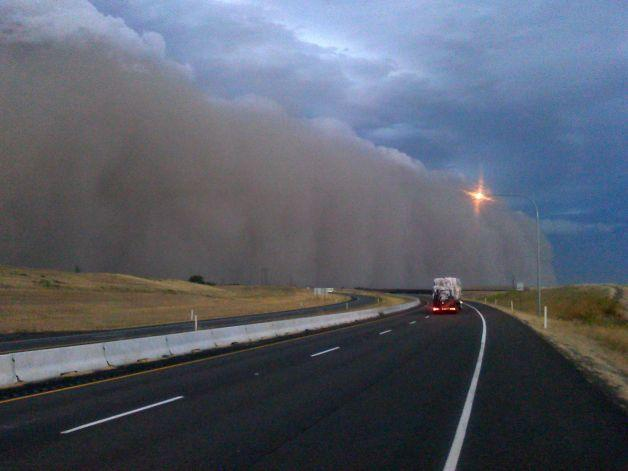 The Haboob that hit eastern Washington earlier this week, seen from Highway 12 near Walla Walla, around 7 p.m. on Sunday, Sept. 15, 2013.