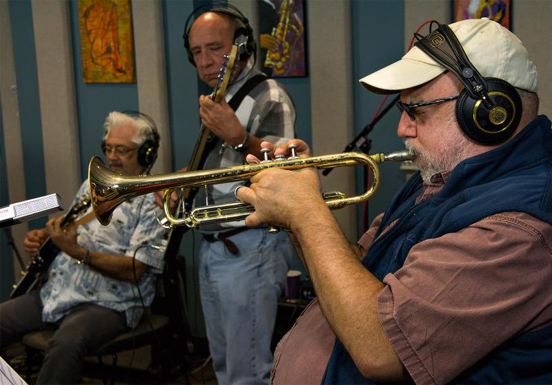 The Eleventh House band performing live in the KPLU Seattle studios.