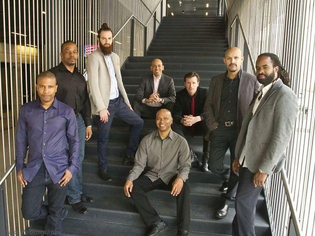 SF Jazz Collective  David Sánchez (left), Warren Wolf, Avishai Cohen, Edward Simon, Robin Eubanks, Matt Penman, Miguel Zenón and Obed Calvaire