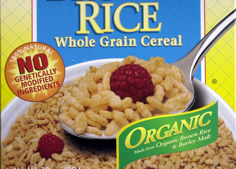 This Oct. 2, 2002, file photo shows labeling stating no genetically engineered ingredients on a box of Erewhon Crispy Brown Rice Cereal in San Francisco.