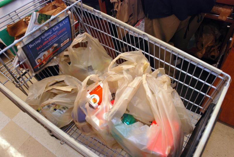 Starting in July, Olympia will ban single-use plastic bags like these
