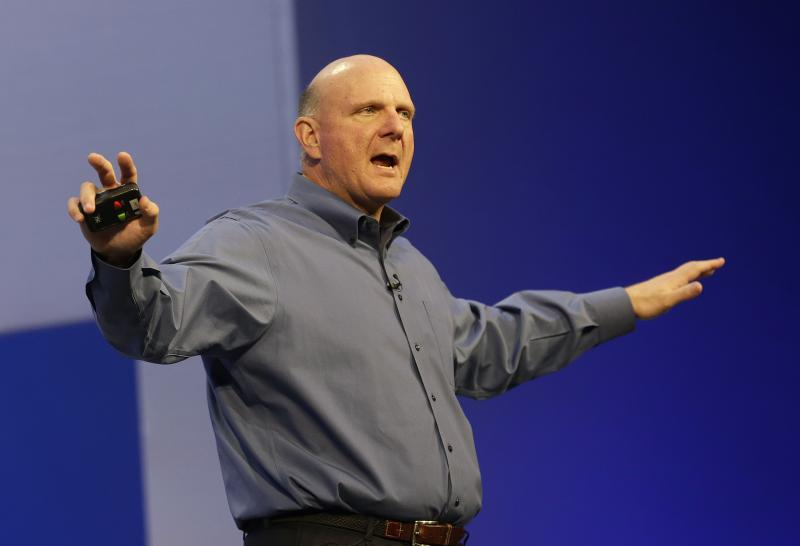 Microsoft CEO Steve Ballmer speaks at a Microsoft event in San Francisco, Wednesday, June 26, 2013