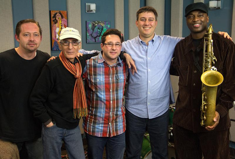 Left to right: Pat Bianchi (organ), Pat Martino (guitar), Carmen Intorre (drums), jazz host Abe Beeson, and James Carter (saxophone).