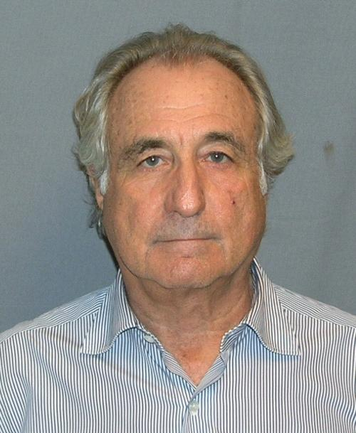 The mugshot of Bernie Madoff, the reigning champ of Ponzi schemes
