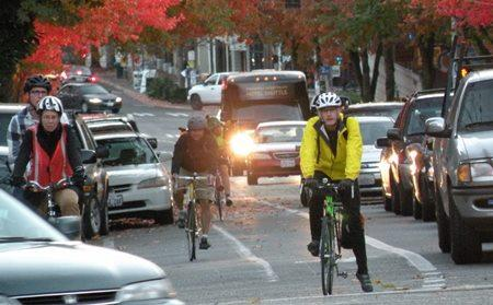 On typical Seattle bike lanes, like this one on Fremont Avenue North, bikes compete with cars.