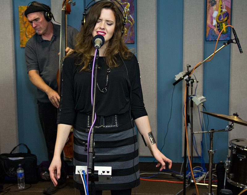 Halie Loren performing live in the KPLU Seattle studios on October 15, 2013.