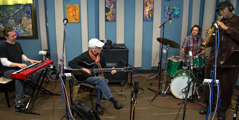 Left to right: Pat Bianchi (organ), Pat Martino (guitar), Carmen Intorre (drums), and James Carter (saxophone) performing live in the KPLU Seattle Studios on October 11, 2013.