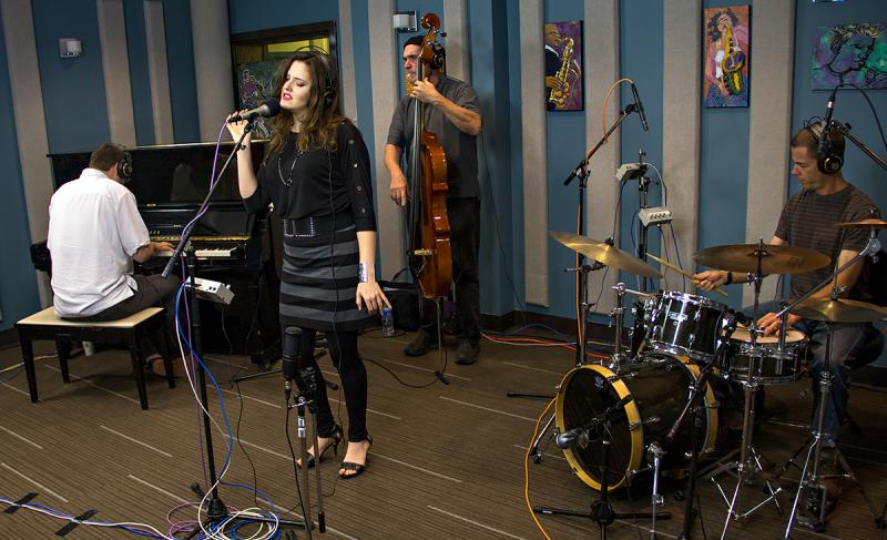 Halie Loren performing live in the KPLU Studios on October 15, 2013. (Matt Treder – piano, Mark Schneider – bass, and Brian West – drums)