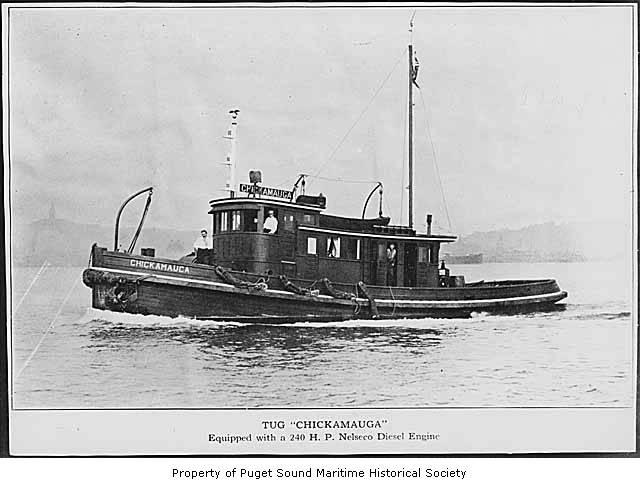 "The Chickamaugan or ""Sea Chicken"" was the first diesel-powered tug on the West Coast, and possibly in America."