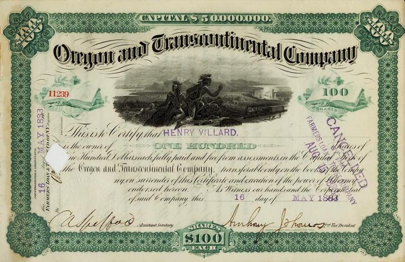 100 shares in the long-defunct Oregon and Transcontinental Company