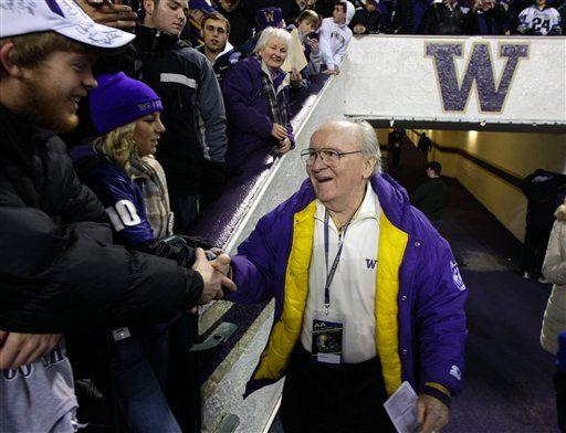 Legendary Washington football coach Don James greets fans prior to an NCAA college football game against Oregon, Saturday, Nov. 5, 2011, in Seattle.