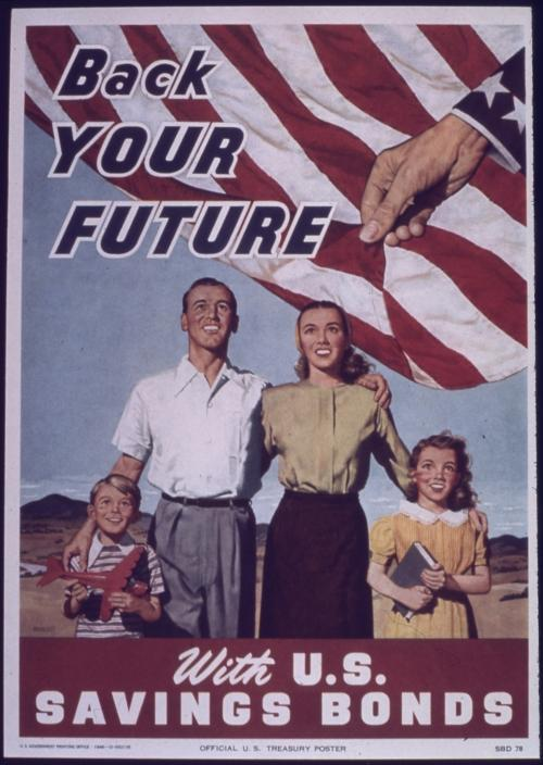 U.S. savings bond campaign poster, circa 1941 - 1945.