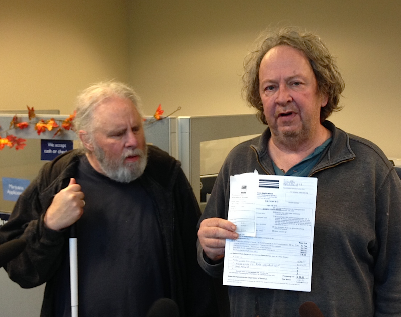 Jeff Gilmore, right, with partner Dave Brown have applied for a license to grow legal marijuana.