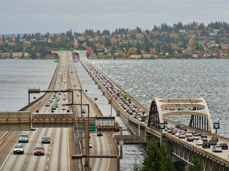 Waves splashed eastbound traffic on the I-90 bridge.