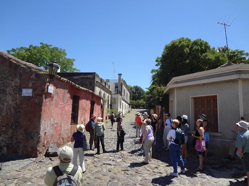 The Travel Club navigates the bumpy streets of Colonia, Uruguay.