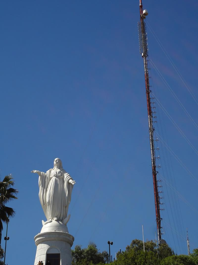 Statue of the Virgin Mary, not the patron saint of broadcast towers.