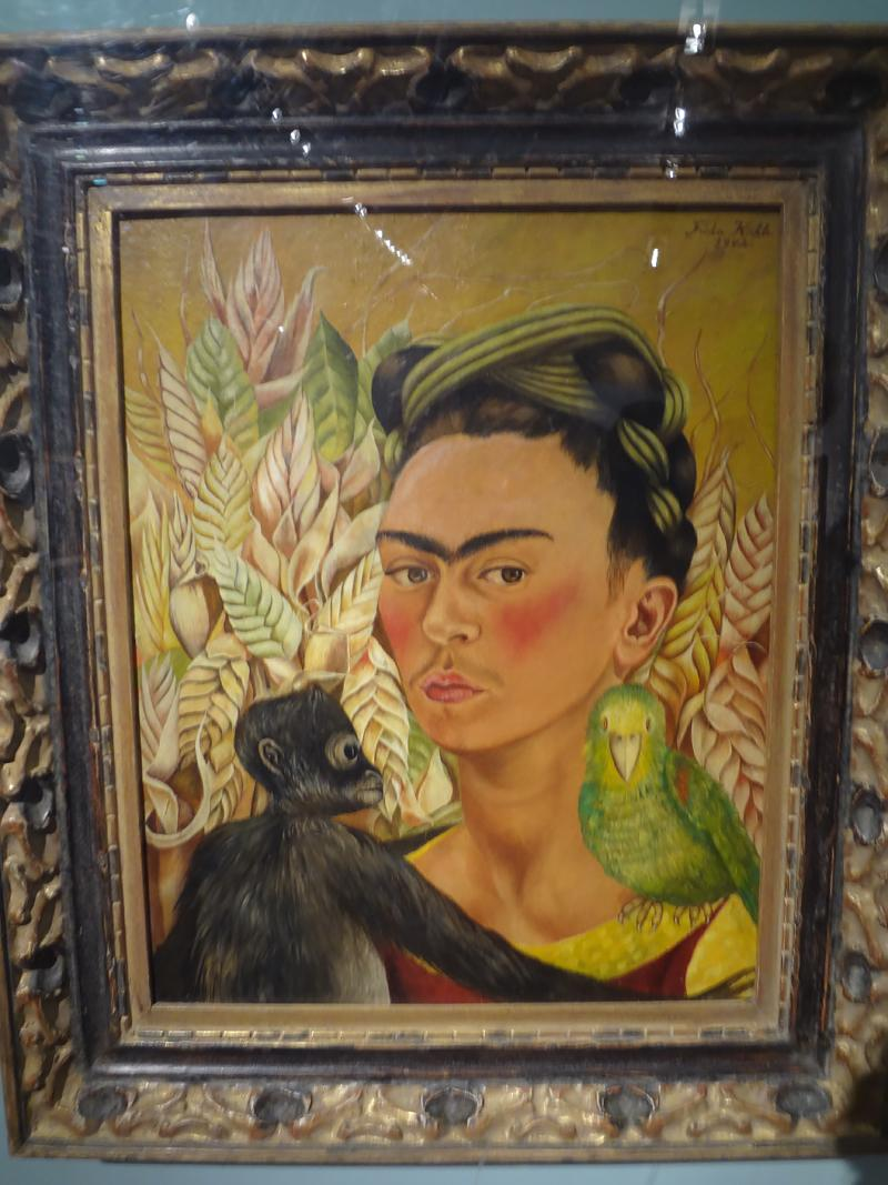 "Frida Kahlo's ""Self-portrait with Monkey and Parrot"" at the BA Museum of Modern Art."