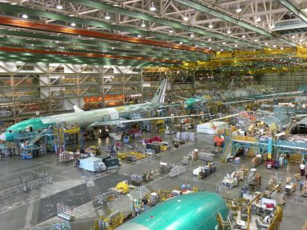 This image shows the Boeing 777x assembly line in Everett, Wash.